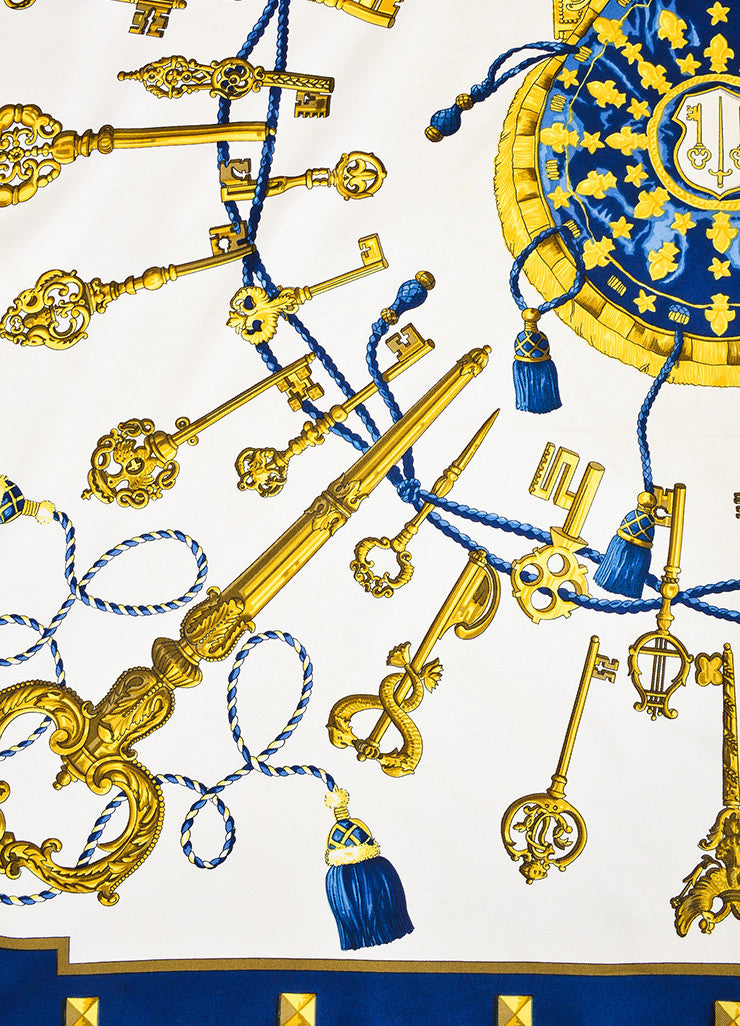 "Hermes Cream, Navy, and Gold Silk Key Print ""Les Cles"" Scarf Detail"
