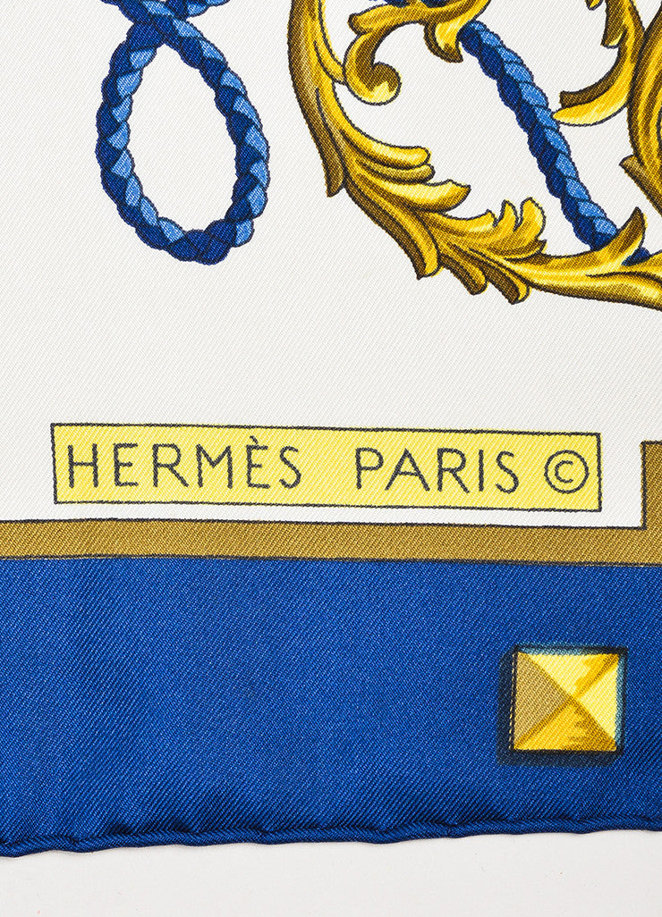 "Hermes Cream, Navy, and Gold Silk Key Print ""Les Cles"" Scarf Brand"