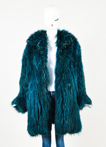 Sonia Rykiel Teal Dye Fur High Collared Leather Button Up Coat Frontview