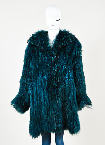 Sonia Rykiel Teal Dye Fur High Collared Leather Button Up Coat Frontview 2
