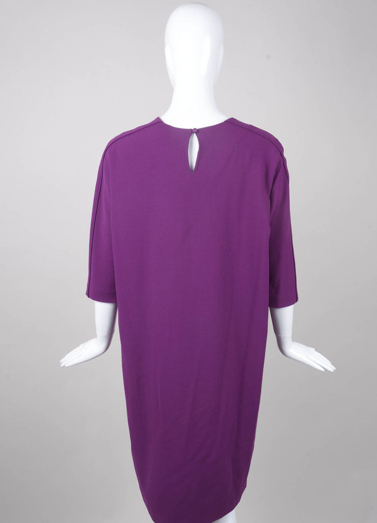New With Tags Purple Woven Wool Three Quarter Length Sleeve Shift Dress
