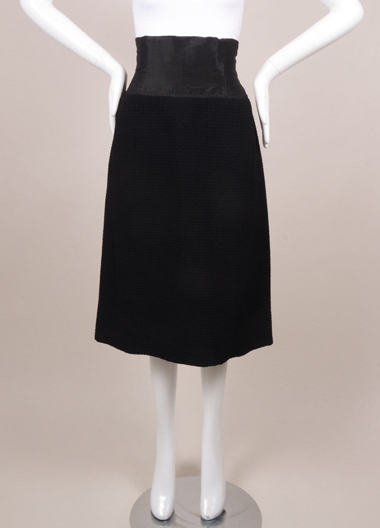 Christian Dior Black Textured High Waisted Pencil Skirt Frontview