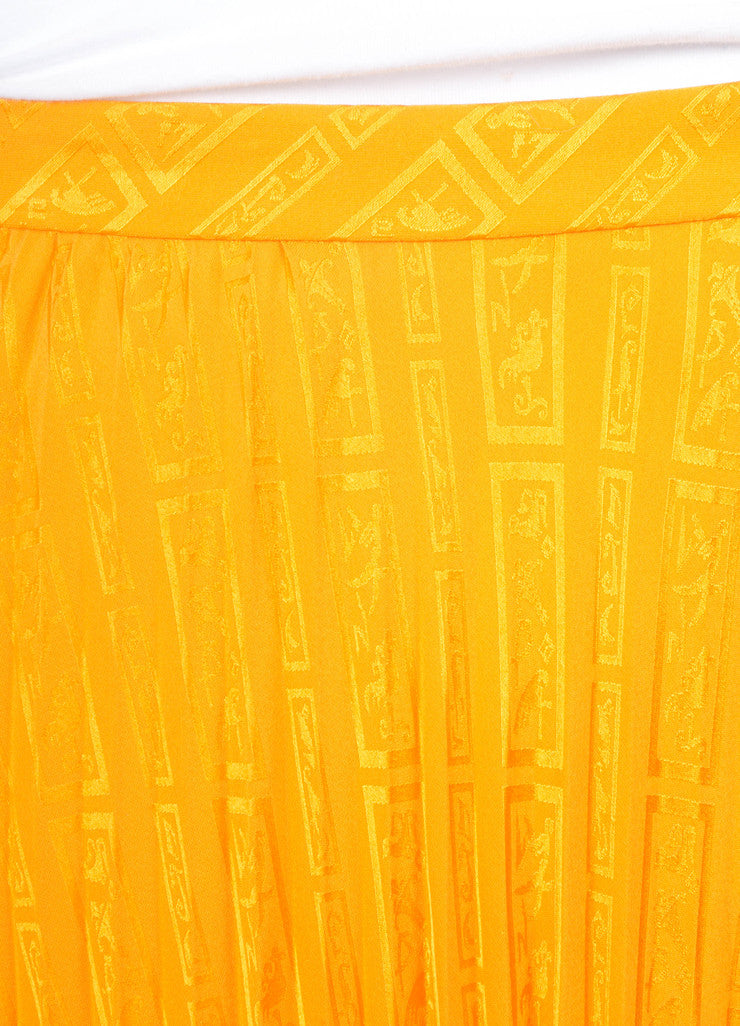 Yellow Andre Laug Pleated Patterned Silk Skirt
