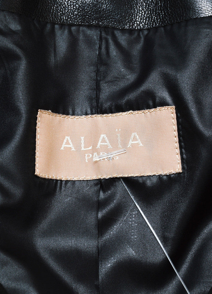 Alaia Black Lamb Leather Cropped Moto Bolero Jacket Brand