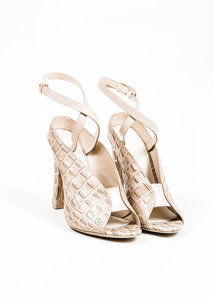 "Taupe Grey Alexander Wang ""Clara"" Croc Embossed Leather Sandals Frontview"