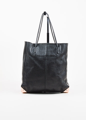"Alexander Wang Black Pebbled Leather Rose Gold Toned ""Prisma Skeletal"" Tote Bag Frontview"