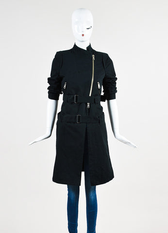 Ann Demuelemeester Black Cotton and Linen Zip Detail Double Belted Coat Frontview