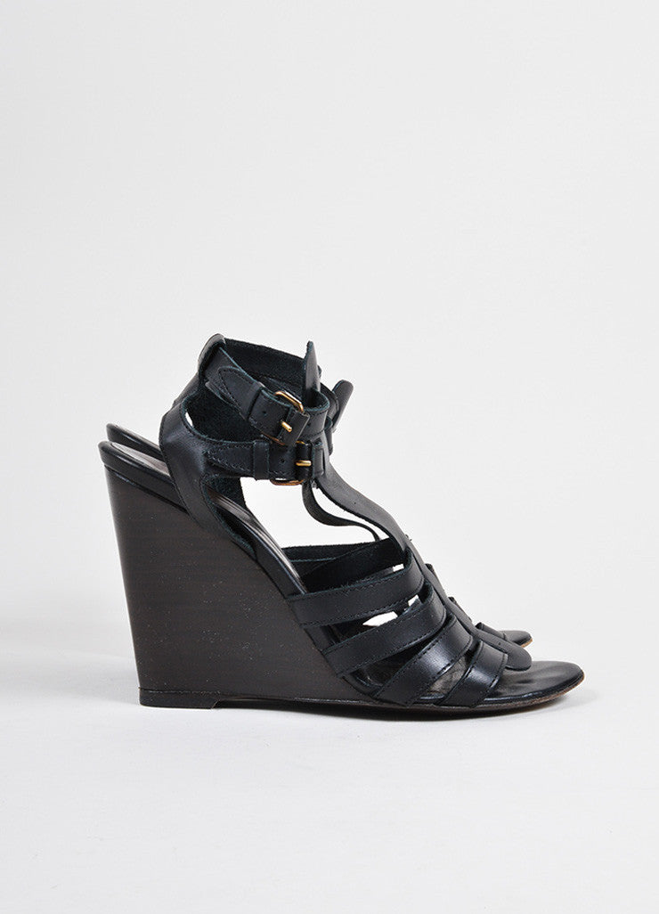 Balenciaga Black Leather Cage Strap Stacked Wedge Sandals Sideview