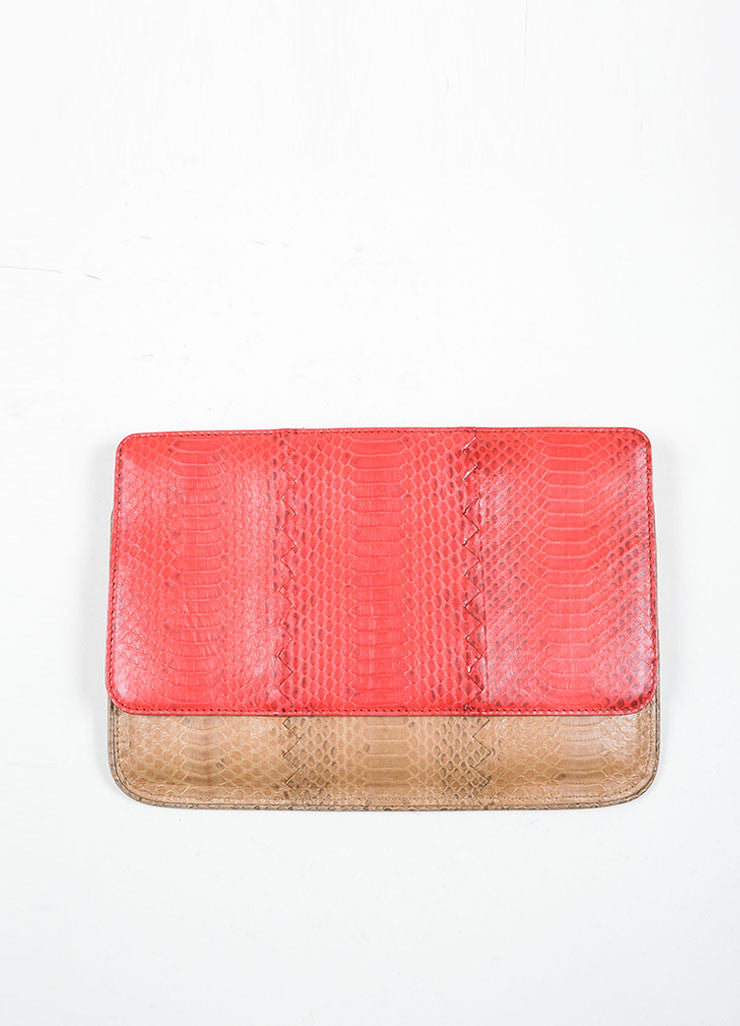 Bottega Veneta Red and Brown Snakeskin Clutch Bag Back