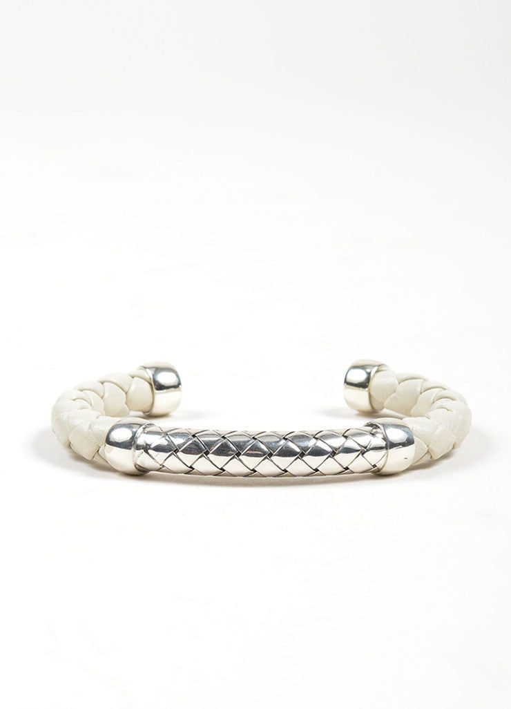 Bottega Veneta Sterling Silver and White Leather Woven Cuff Bracelet Frontview