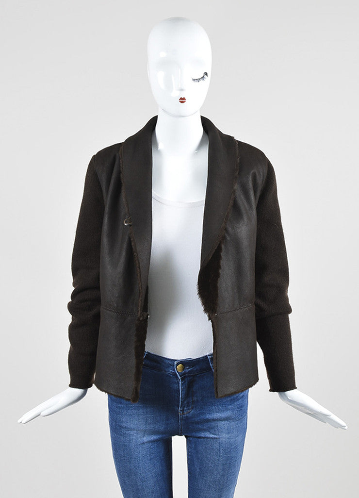 Brown Brunello Cucinelli Shearling and Cashmere Mixed Media Shawl Jacket Frontview