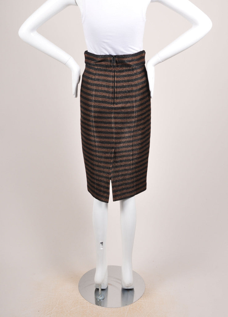 Burberry Prorsum Brown and Black Straw Knit Stripe High Waist Pencil Skirt Backview