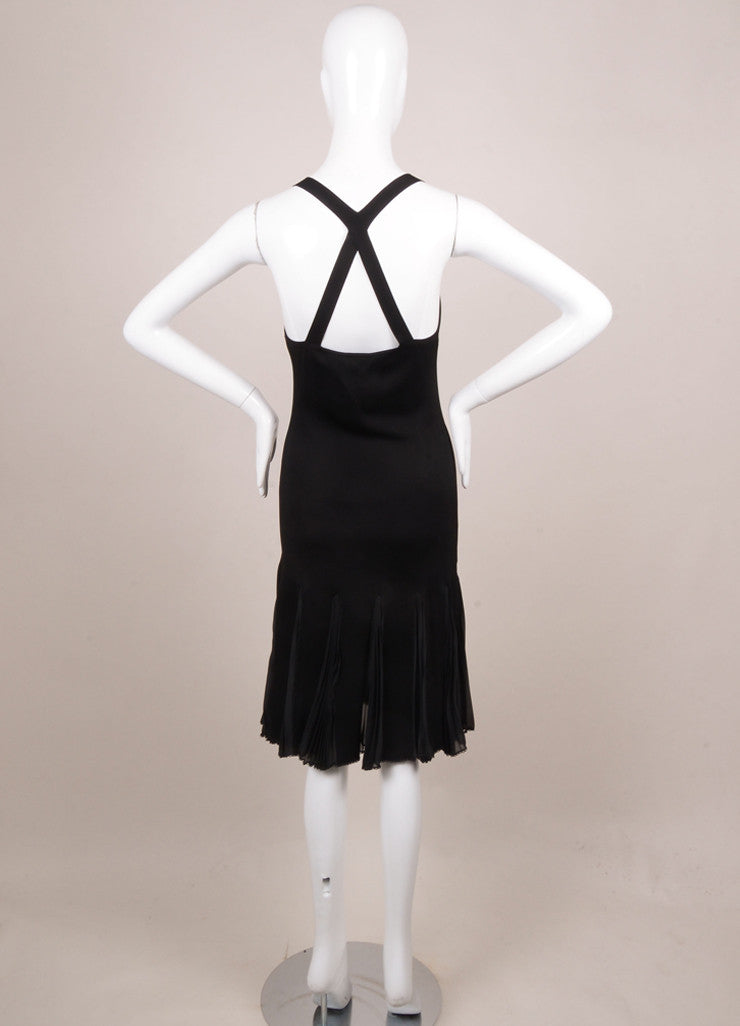 Chanel Black Knit Pleated Sleeveless Dress Backview