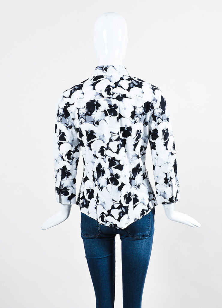 Black, White, and Grey Carolina Herrera Cotton Floral Print Button Down Shirt Backview