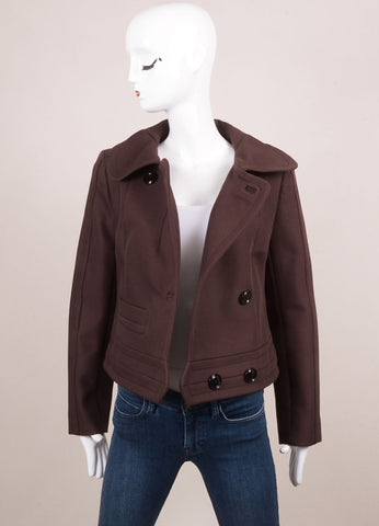"Carven New With Tags Brown Knit Long Sleeve ""Gab Moto"" Jacket Frontview"