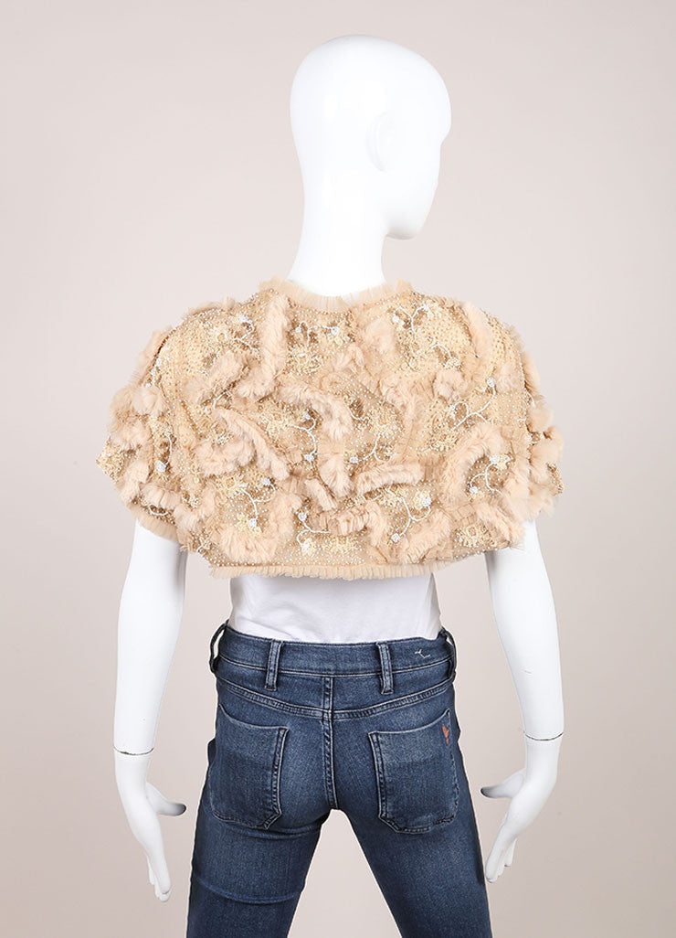 Cassin Beige Sequin Bead and Faux Fur Embellished Crop Evening Shrug Backview