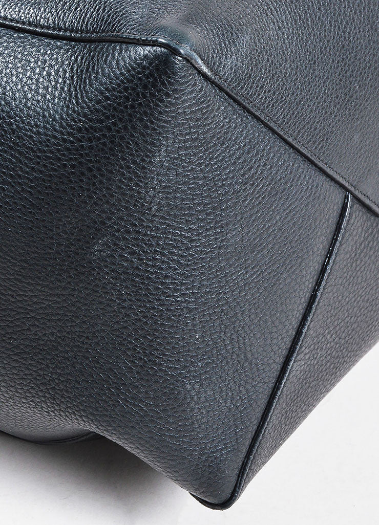 "Celine Black Pebbled Leather Tied ""Medium Cabas Phantom"" Tote Bag Detail"
