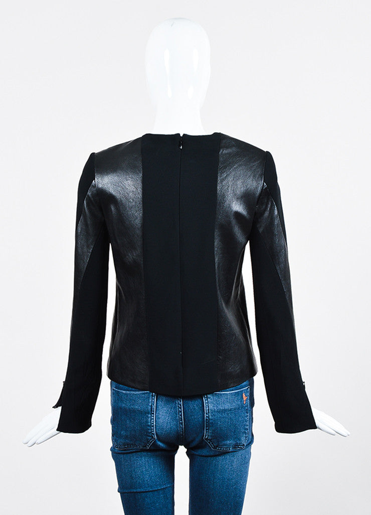 Black Celine Leather and Knit Combo Long Sleeve Top Backview