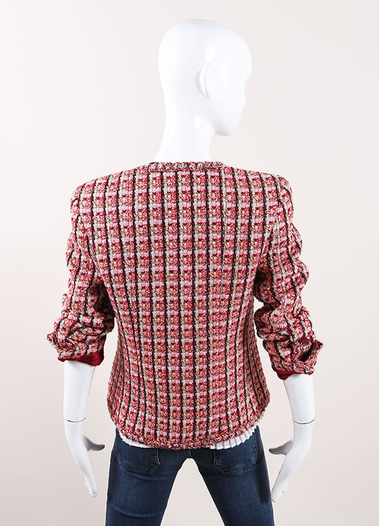 Chanel Red And Pink Cotton Wool Blend Tweed Collarless 'CC' Button Jacket Backview