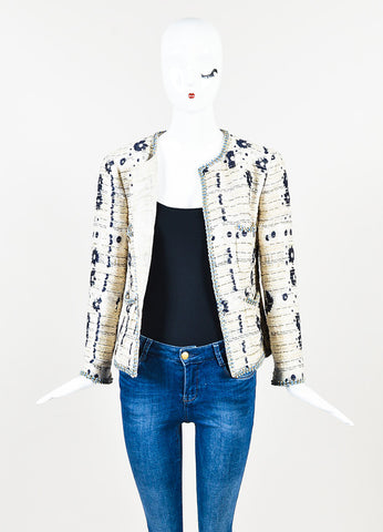 Chanel Cream and Navy Blue Flower Woven Boucle Bead Trim Jacket Frontview