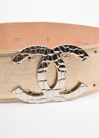 Gold Metallic Leather Silver Toned Croc 'CC' Buckle Belt Detail