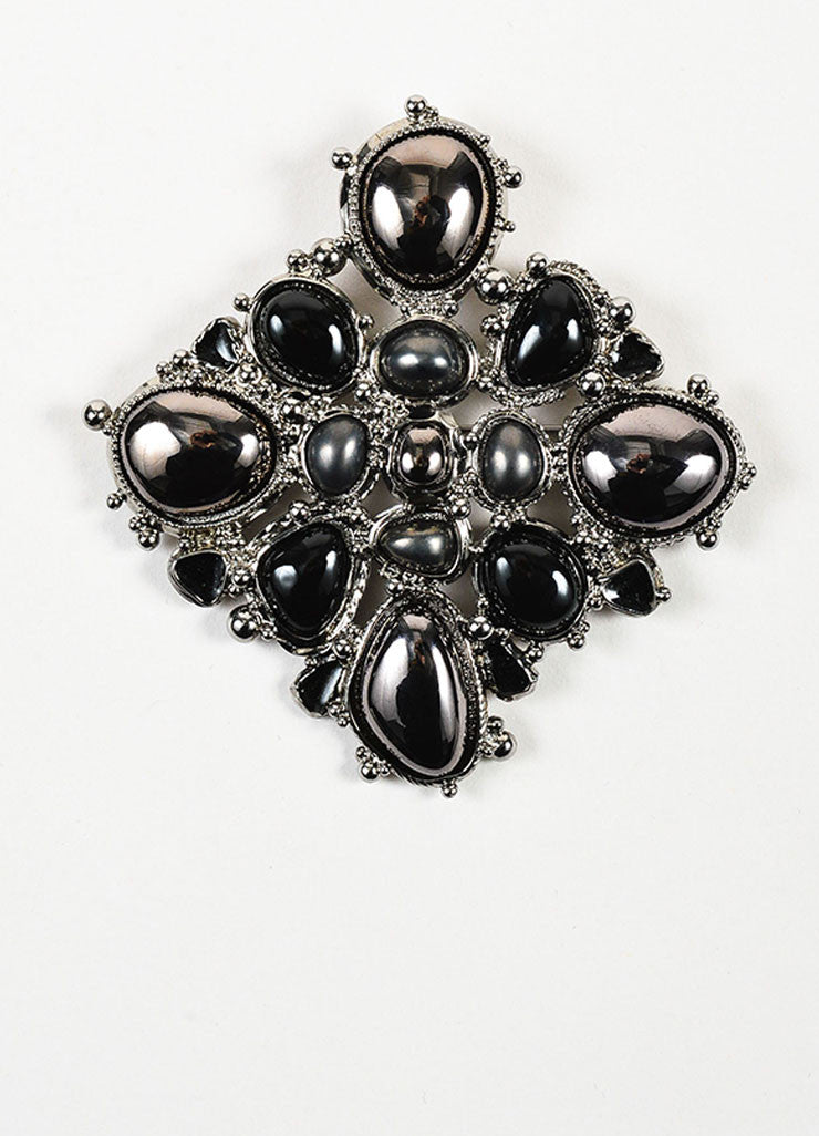 Chanel Silver Toned and Black Metallic Resin Stone Enamel Square Brooch Pin Frontview