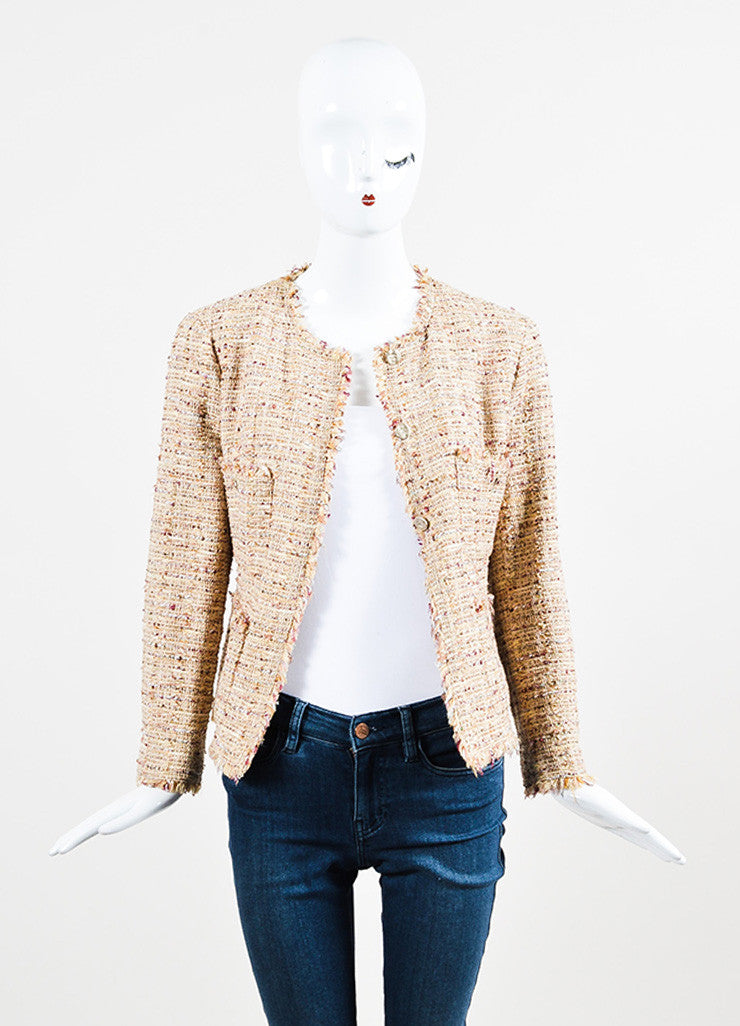 Chanel Beige, Maroon, and Multicolor Tweed Fringe Trim Button Down Jacket Frontview