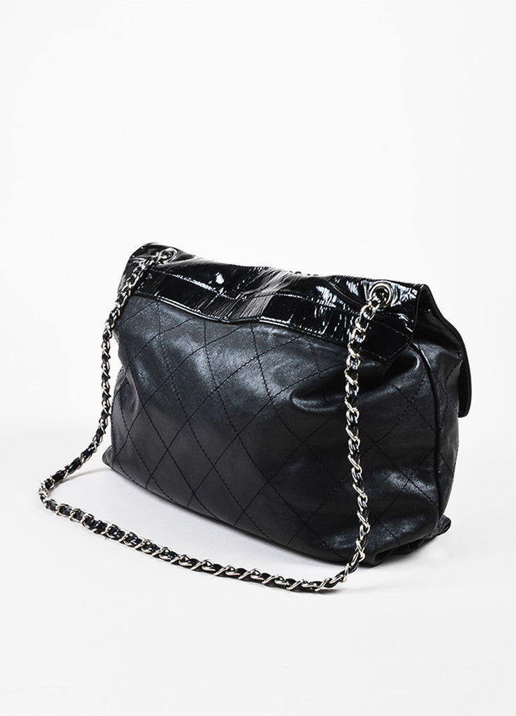 Chanel Black Lambskin Patent Quilted Leather Silver Toned Chain Flap Shoulder Bag sideview