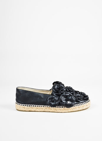 Chanel Black Leather Camellia Floral Slide On Espadrilles Sideview