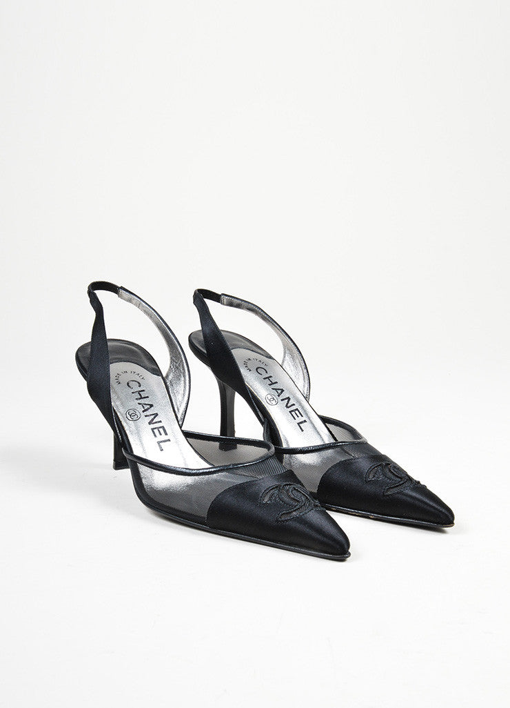Black Satin Mesh Chanel 'CC' Logo Pointed Toe Slingback Pumps Frontview