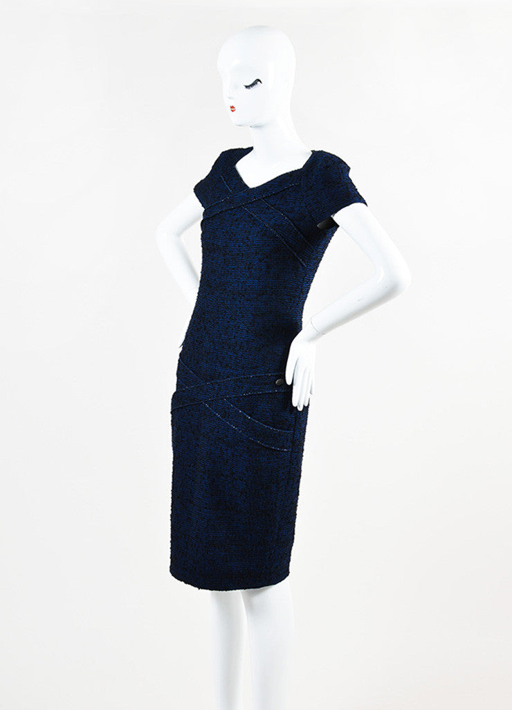 Chanel Blue and Black Alpaca and Wool Blend Tweed Embellished Cap Sleeve Dress Sideview