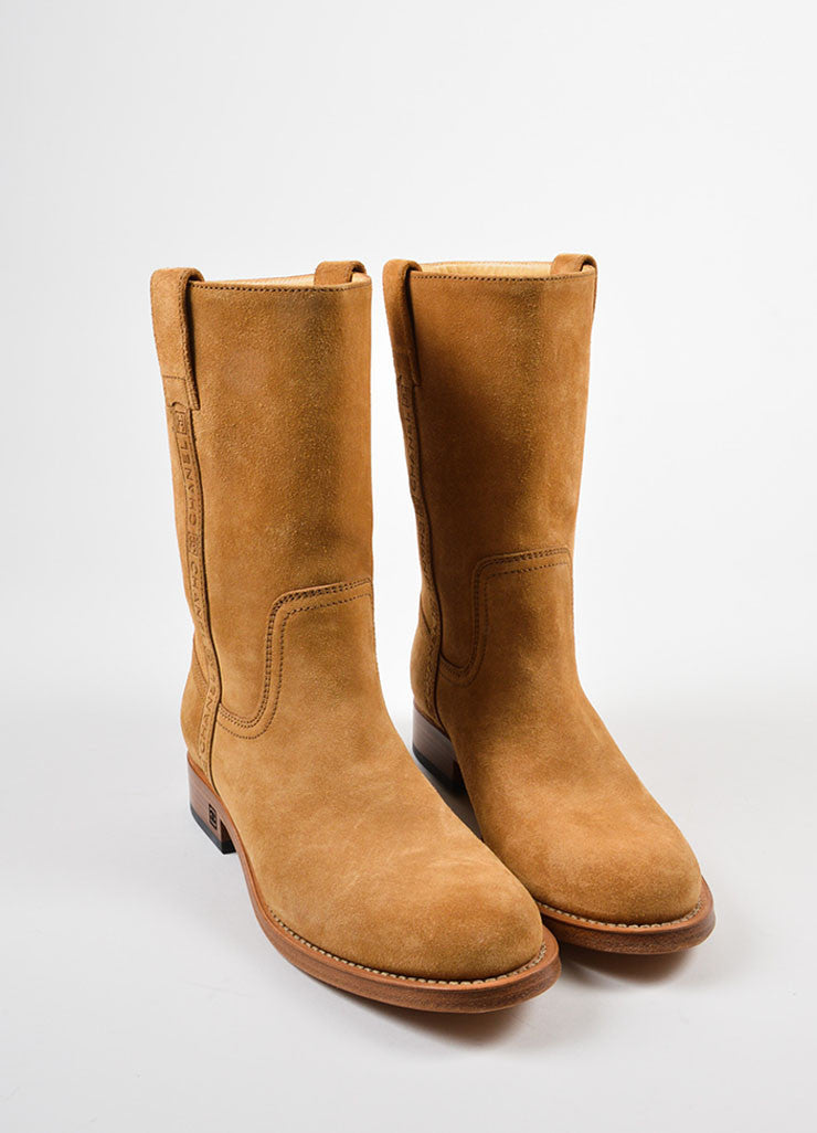 Camel Tan Chanel Suede Embossed Pull Tab Mid Calf Boots Frontview