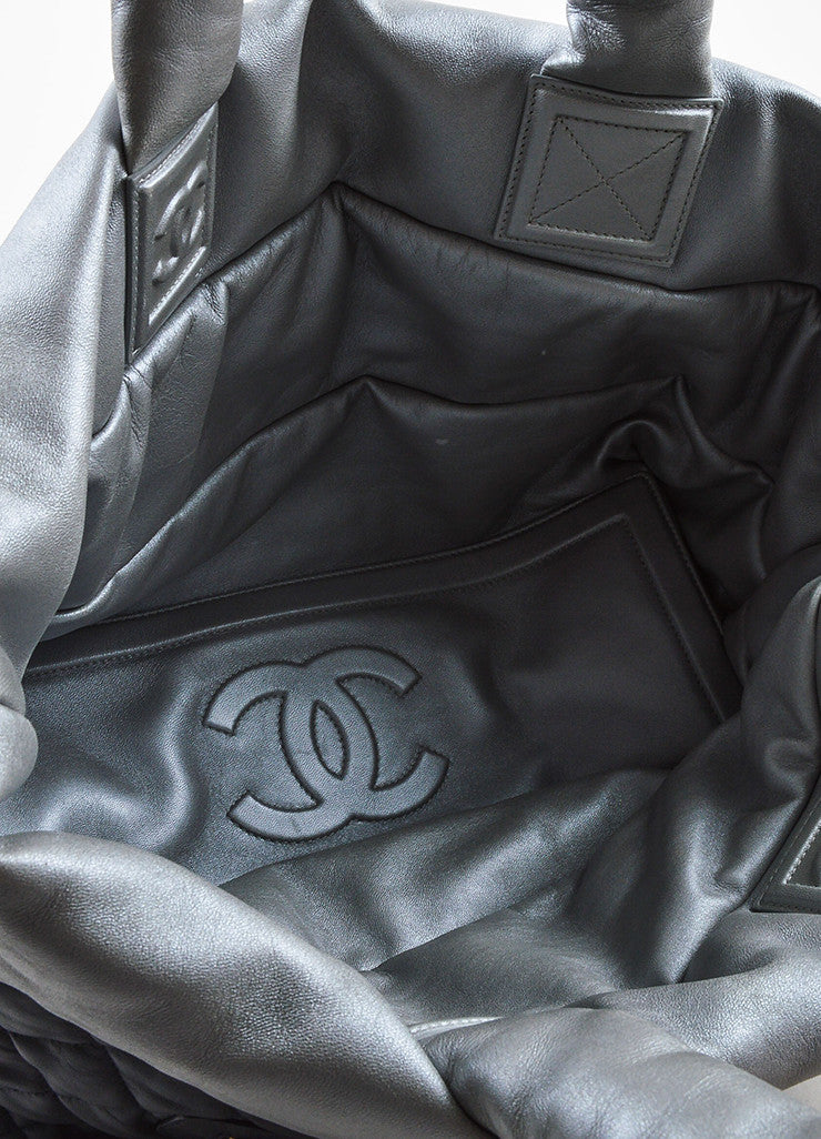 "Chanel Navy and Metallic Silver Lambskin Quilted ""Large Cocoon"" Reversible Tote Bag Interior"