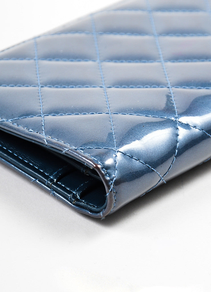 Steel Blue Shimmer Patent Leather Quilted Chanel 'CC' Bifold Wallet Detail