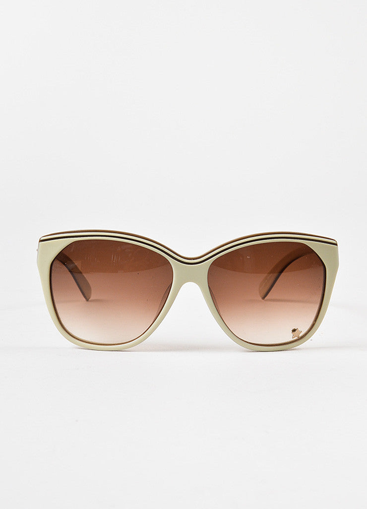 "Chloe Cream Brown Gradient Lens Oversized Round ""Tilla"" Sunglasses Front 2"