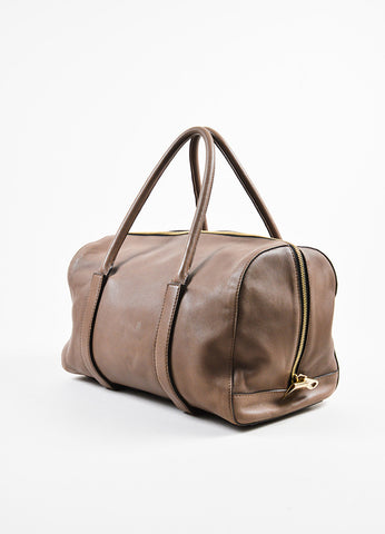 "Chloe Taupe Leather Duffle Satchel ""Madeleine"" Handbag Sideview"