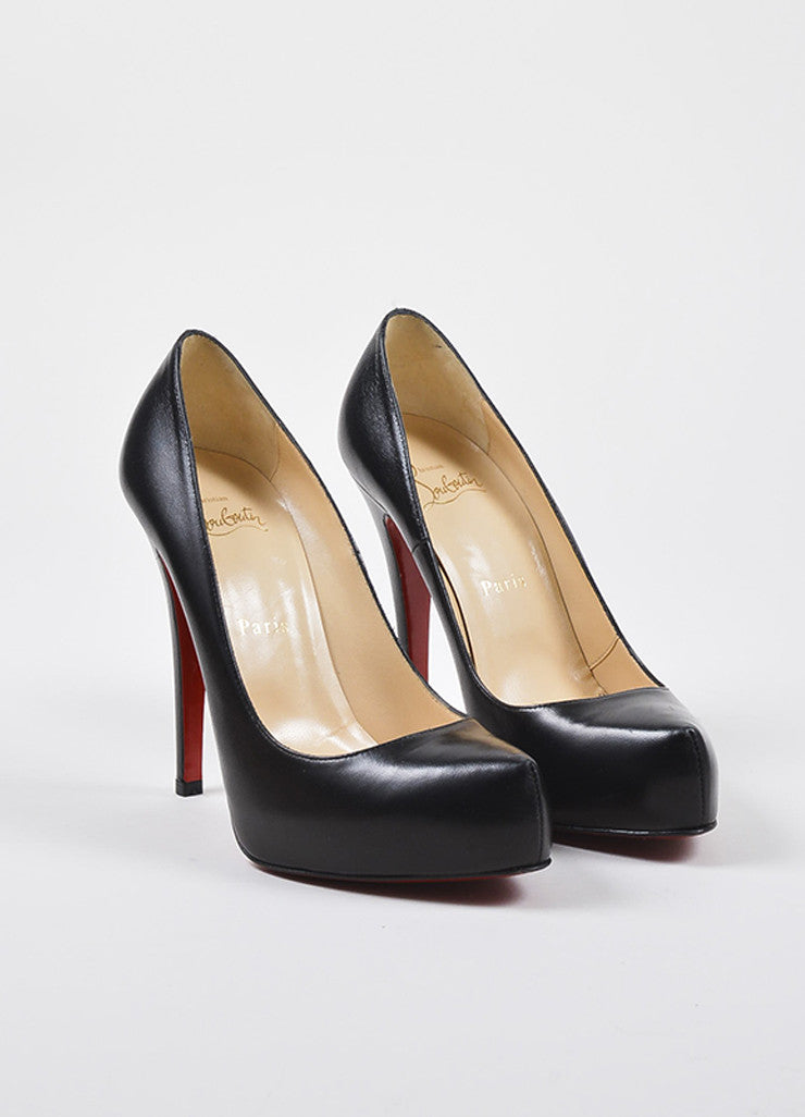 "Christian Louboutin Black Leather ""Rolando"" Hidden Platform Pumps Frontview"