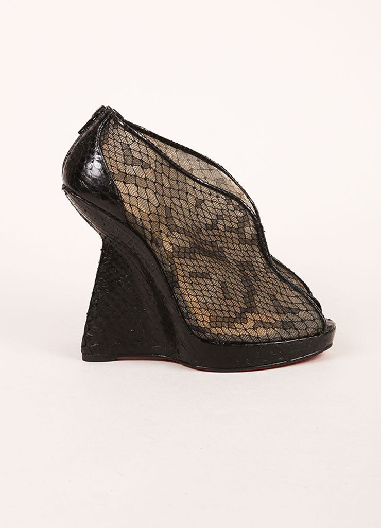 "Christian Louboutin Black Python Leather and Lace ""Janet"" Wedge Booties Sideview"