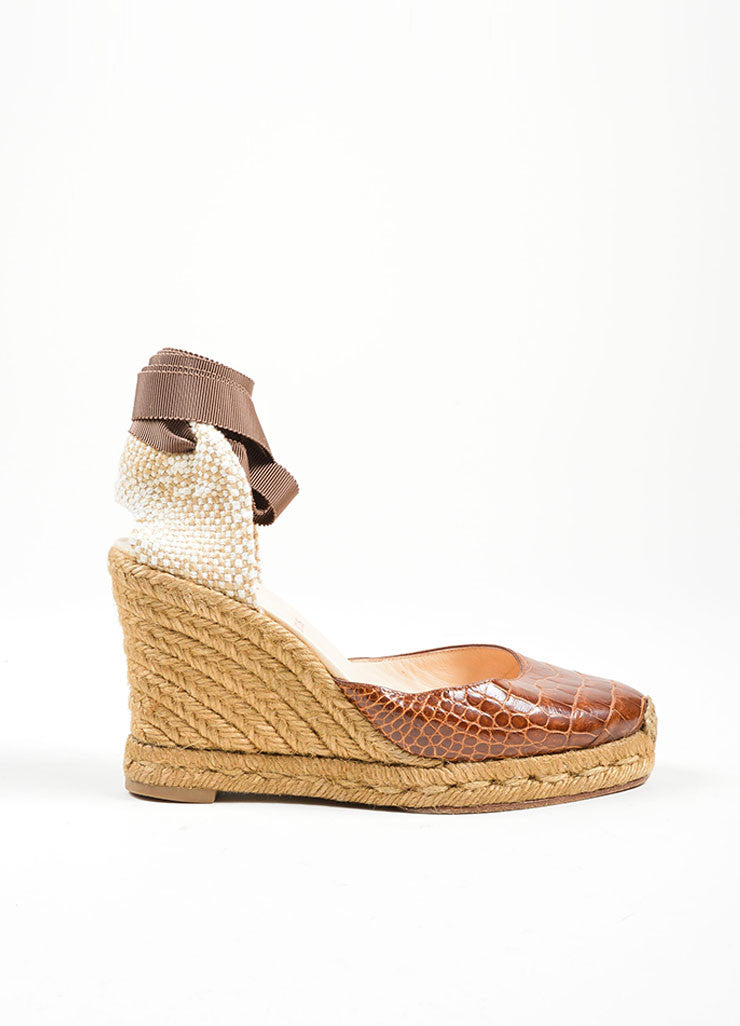 Brown Christian Louboutin Alligator Woven Ankle Wrap Espadrille Wedges Sideview