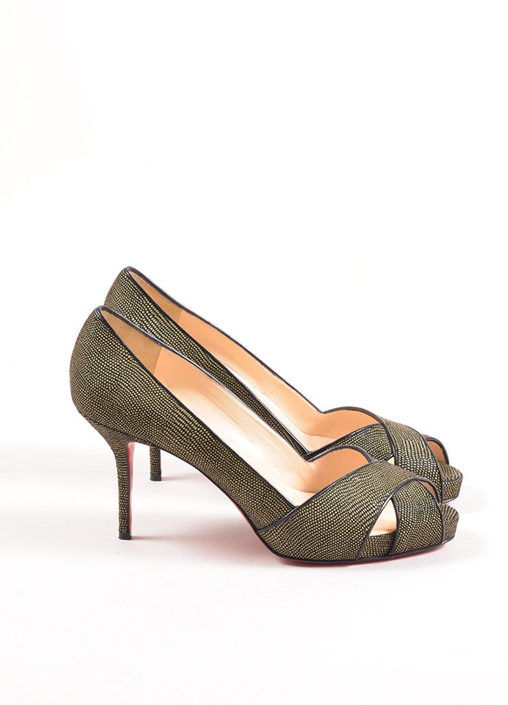 Christian Louboutin Green and Black Pebbled Cross Peep Toe Platform Pumps Sideview