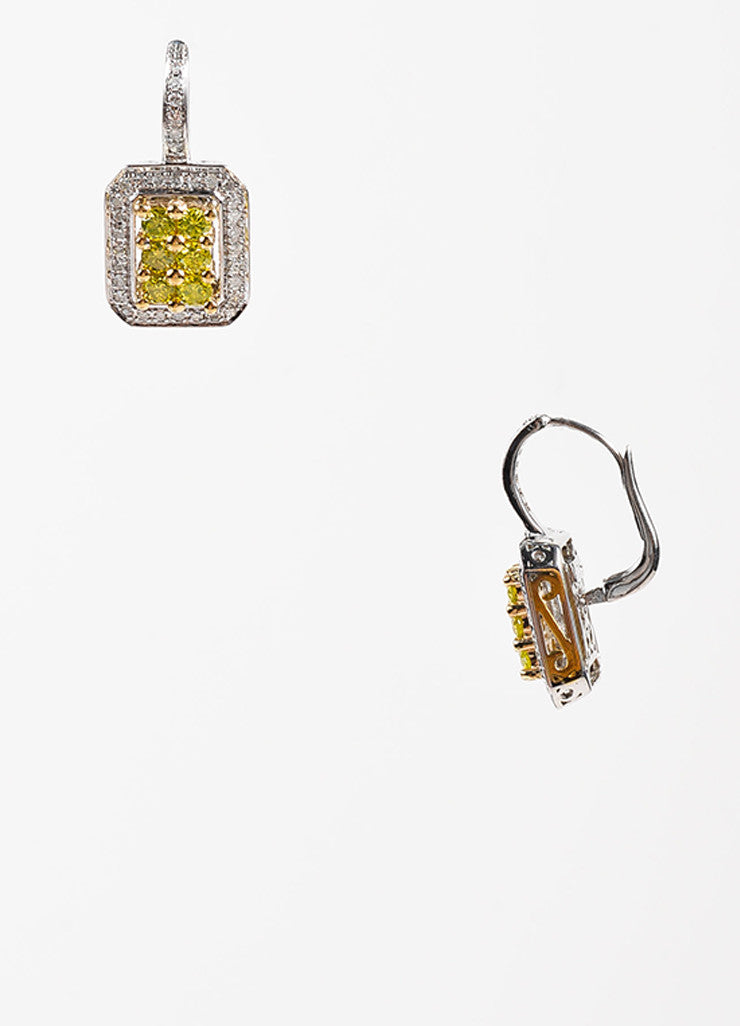 """DLC"" 14K White Yellow Gold Green Diamond Square Drop Earrings Sideview"