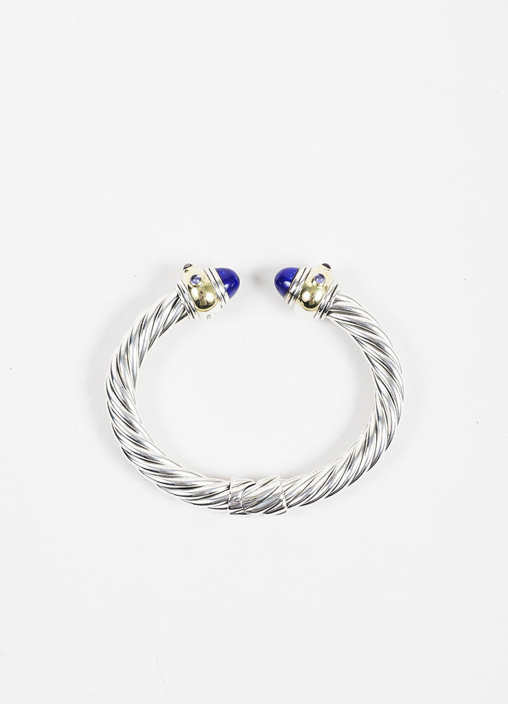 "David Yurman Sterling Silver, Gold, and Purple ""Renaissance"" Cable Bracelet Topview"