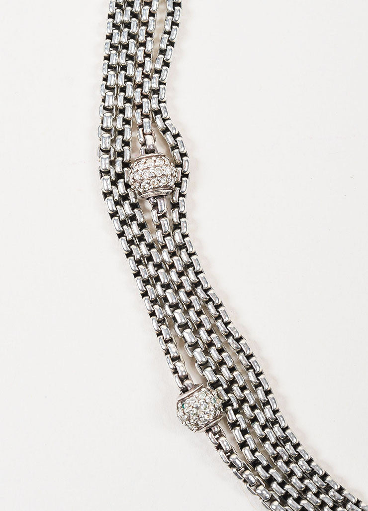 Sterling Silver, 18K Yellow Gold, and Diamond David Yurman Bead Multi Strand Necklace Detail