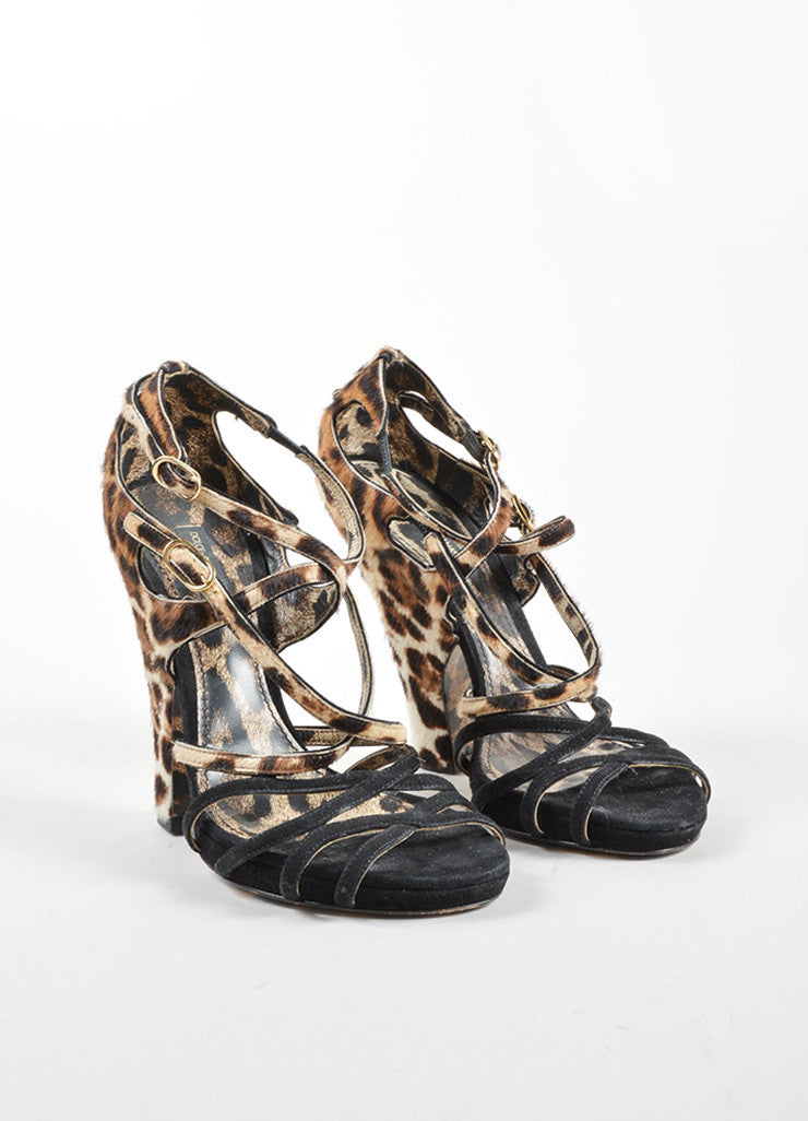 Dolce & Gabbana Black Suede Pony Hair Leopard Strappy High Heel Sandals Frontview