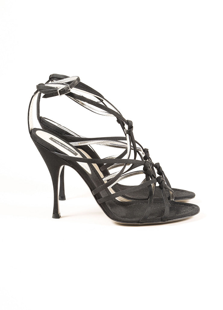 Dolce & Gabbana Black Grosgrain Knotted Strappy Sandals Sideview