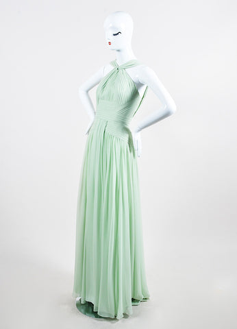 Mint Green Elie Saab Chiffon Pleated Cross High Neck Sleeveless Gown Sideview