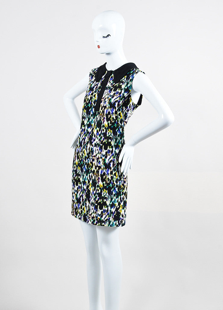 "Multicolor Erdem Crepe Blur Print ""Nessana"" Sleeveless Shift Dress Sideview"