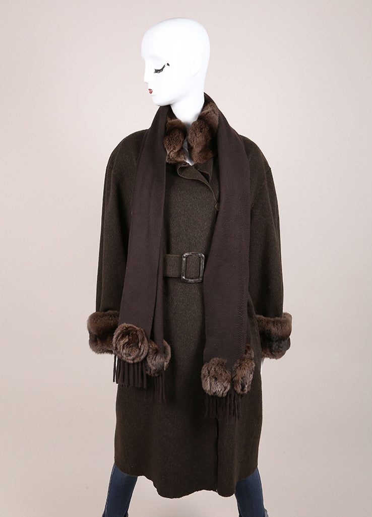 Fendi Brown Cashmere Fur Trim Belted Full Length Long Sleeve Coat Frontview