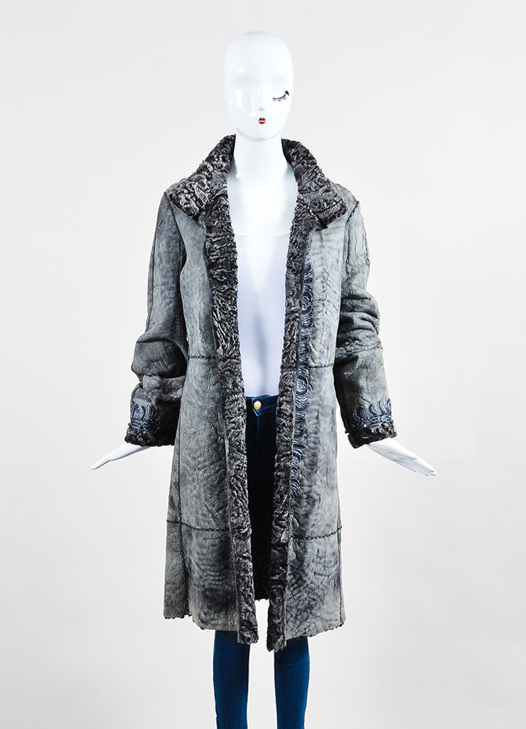 Giuliana Teso Grey Suede Leather Shearling Fur Embroidered Embellished Coat Frontview