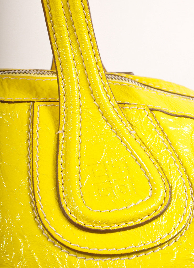 "Givenchy Canary Yellow Crinkled Patent Leather Medium ""Nightingale"" Bag Handle View"